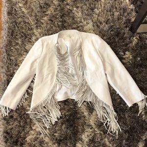 Rebecca Minkoff white fringe leather jacket